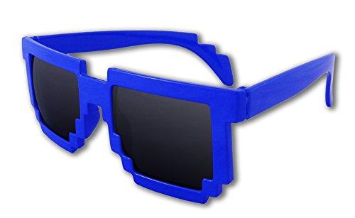8-Bit Pixel Retro Computer Sun Glasses Nerd Sunglasses 8 Bit (Blue) (Cool Minecraft Stuff compare prices)