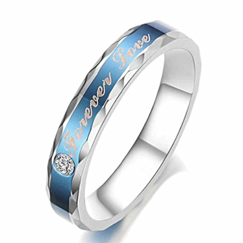 Moandy Jewelry Stainless Steel Forever Love Women'S Wedding Rings,Blue,Us Size 7