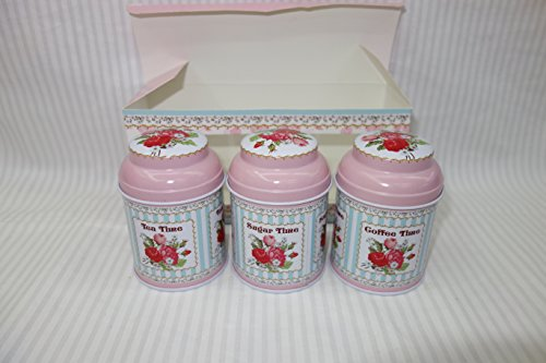 Attractive tea coffee and sugar storage canisters shabby chic with set of 3 home garden - Pink tea and coffee canisters ...