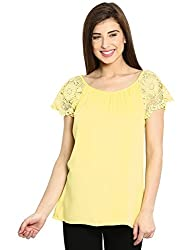 Ladybug Womens Lace Shoulder Top - Yellow