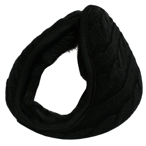 Black Cable Knit Faux Fur Lined Wrap Earmuff Band