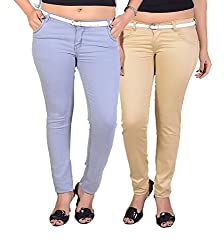 Goodgift Brown & Ice Blue Cotton Lycra Jeans