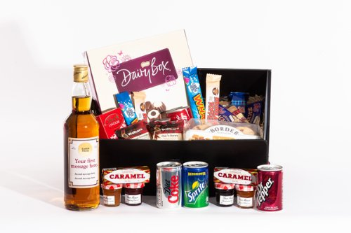 Large Personalised Sweet Treats and Blended Whisky Hamper. Birthday, Anniversary, Engagement, Easter, Mother's day, Father's day, Valentine's day, Wedding or Christmas gift idea
