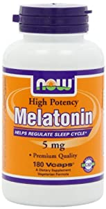 NOW Foods Melatonin 5mg Vcaps, 180 Capsules
