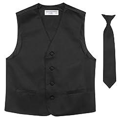 BOY\'S Dress Vest & NeckTie Solid BLACK Color Neck Tie Set size 12