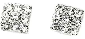 Crystal Rhinestone Diamante Square Magnetic CLIP ON Earrings Stud Mens Women Unisex Childrens