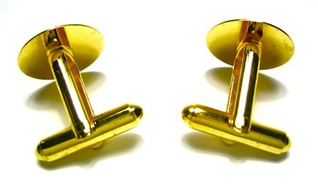 10 X Gold Tone Cufflink Backs Setting 15mm Pad DIY Findings
