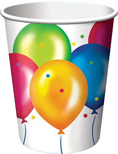 Creative Converting 8 Count Birthday Balloons Hot/Cold Cups, 9 oz, Multicolor