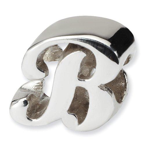 .925 Sterling Silver Letter B Script Bead