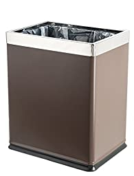 Brelso \'Invisi-Overlap\' Open Top Metal Trash Can, Small Office Wastebasket, Modern Home Décor, Rectangle Shape (Brown)