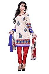 Surat Tex Cream Color Printed Cotton Un-Stitched dress materials for women