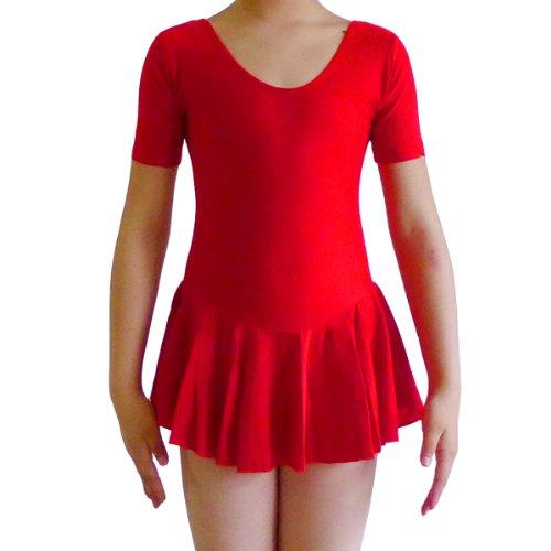 Seawhisper Children Dance Costumes Ballet Leotards Tutu Girls Dresses Skirts(Short Sleeve Red, Under 47Inch) front-10589