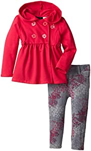 Calvin Klein Little Girls' Hooded Jacket with Print Legging, Pink, 2T