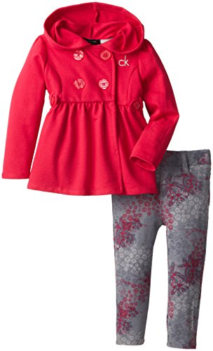 Calvin Klein Little Girls' Hooded Jacket With Print Legging, Pink, 6 front-931155
