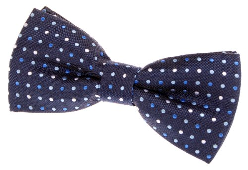 """Vintage Three-Colour Polka Dots Woven Pre-Tied Bow Tie (4.5"""") - Navy Blue"""