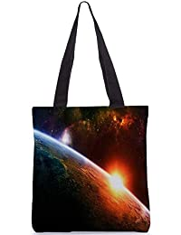 Snoogg A New Dawn By Burning Liquid Digitally Printed Utility Tote Bag Handbag Made Of Poly Canvas