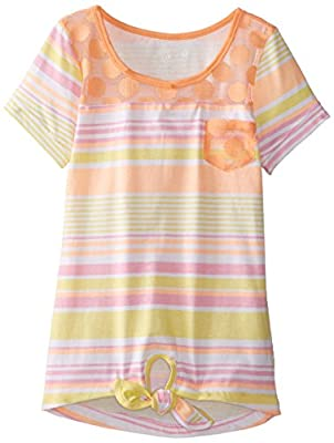 One Step Up Big Girls' Striped Top with Lace Pocket and Yoke, Orange Cremesicle Multi, Medium