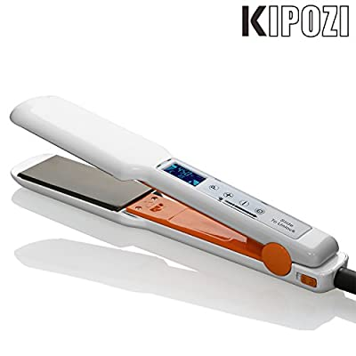 KIPOZI Digital Hair Straightener 1.75 Inch Flat Iron with Nano-Titanium Plate,LCD Touch Screen,White