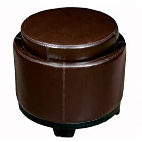 Baxton Furniture Studios Round Full Leather Storage Ottoman with Reversible Tray, Espresso Brown
