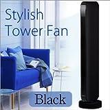 タワーファン ブラック■スリムな多機能スタイリッシュなタワーファン リモコン付/ひんやりリビング扇風機 サーキュレーター として空気循環節電節約に
