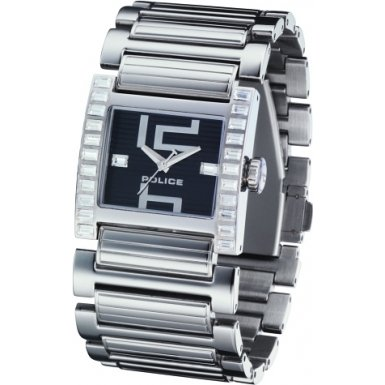 Police 11748LS-02M Elation Ladies Stainless Steel Bracelet Black Dial Watch