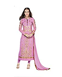 Amyra Women's Georgette Dress Material (AC787-06, Purple)