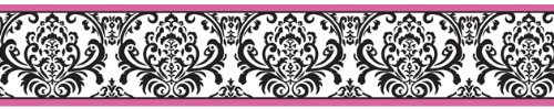 Hot Pink, Black And White Isabella Baby And Kids Wall Border By Sweet Jojo Designs front-235623