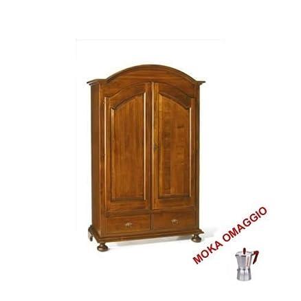 CLASSICO armadio legno mobile 2 ante 2 cassetti per soggiorno salotto camera 245 125x61x200