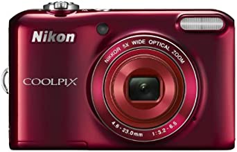 "Nikon COOLPIX L28 20.1 MP Digital Camera with 5x Zoom Lens and 3"" LCD (Red) (Certified Refurbished)"