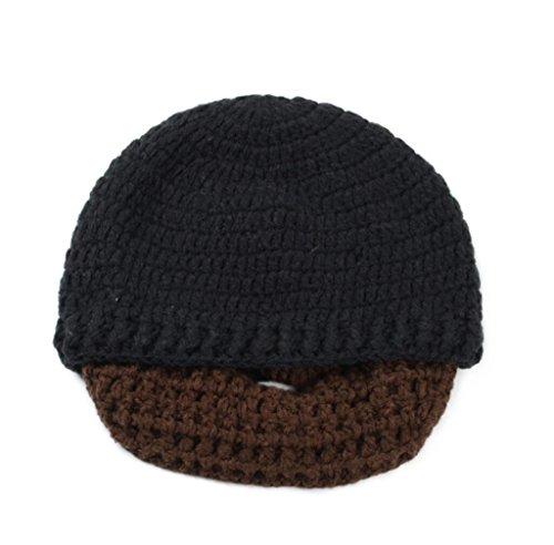 Inverno caldo uomini donne coppia bambini maglia barba baffi cappello Viking Crochet Beanie antivento passamontagna Cappelli Cap regalo di Halloween per bambini , black + coffee beard