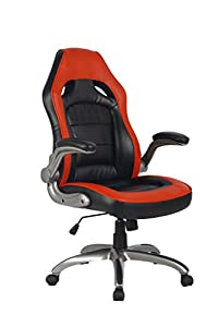 VIVA High Back Ergonomic Nylon Base Leather Office Chair with Padded Flip-Up Arms