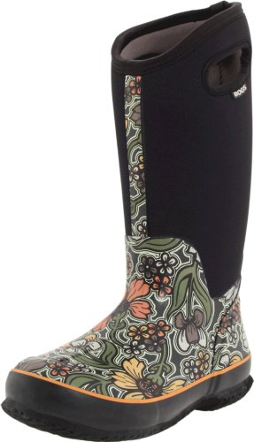 Bogs Women's Classic Tall May Flower Waterproof Boot,Olive,9 M US