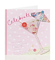 Fabric Cocktail Birthday Card