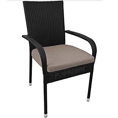 Poly-Rattan Stapelstuhl Gartenstuhl stapelbar Schwarz inkl. Sitzkissen Beige von Multistore 2002 auf Gartenmöbel von Du und Dein Garten