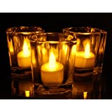 Votive Candle Holder With LED Tealight Candles (Pack Of 24 Sets) Clear
