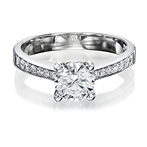 Diamond Engagement Ring in 14K Gold / White GIA Certified, Round, 1.12 Carat, H Color, SI1 Clarity