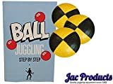 Jac Products 3 120G Original Thud Juggling Balls Black/Yellow With 24 Page Juggling Book