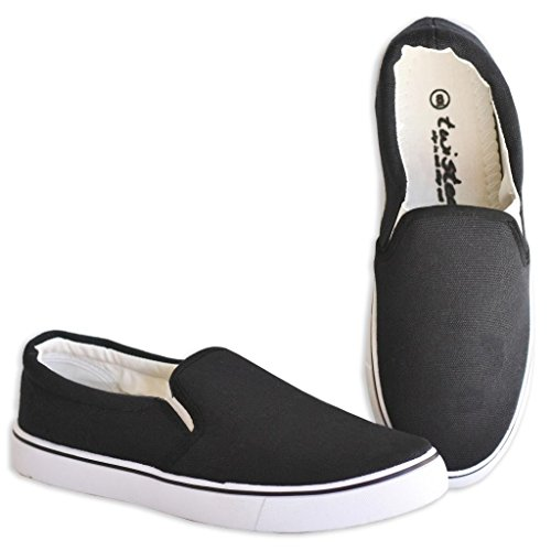 Twisted Womens Core Classic Slip-On Canvas Slim Lo-Top Casual Sneakers - Black, Size 7.5