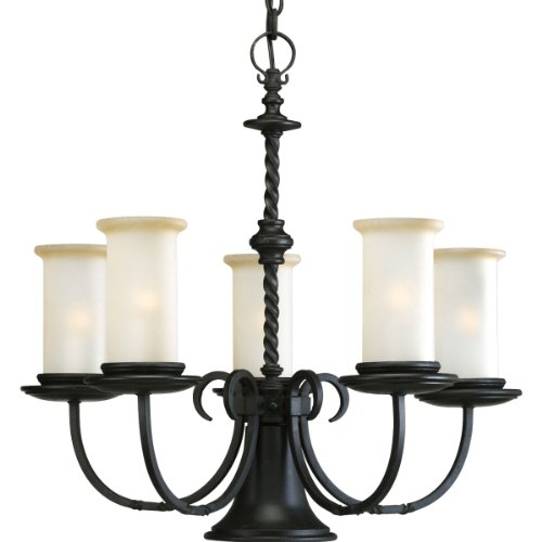 B0014HAS6O Progress Lighting P4587-80 5-Light Santiago Chandelier, Forged Black