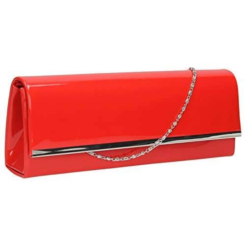 Olivia Patent Flapover Evening Prom Party Bridal Clutch Bag -- SwankySwans