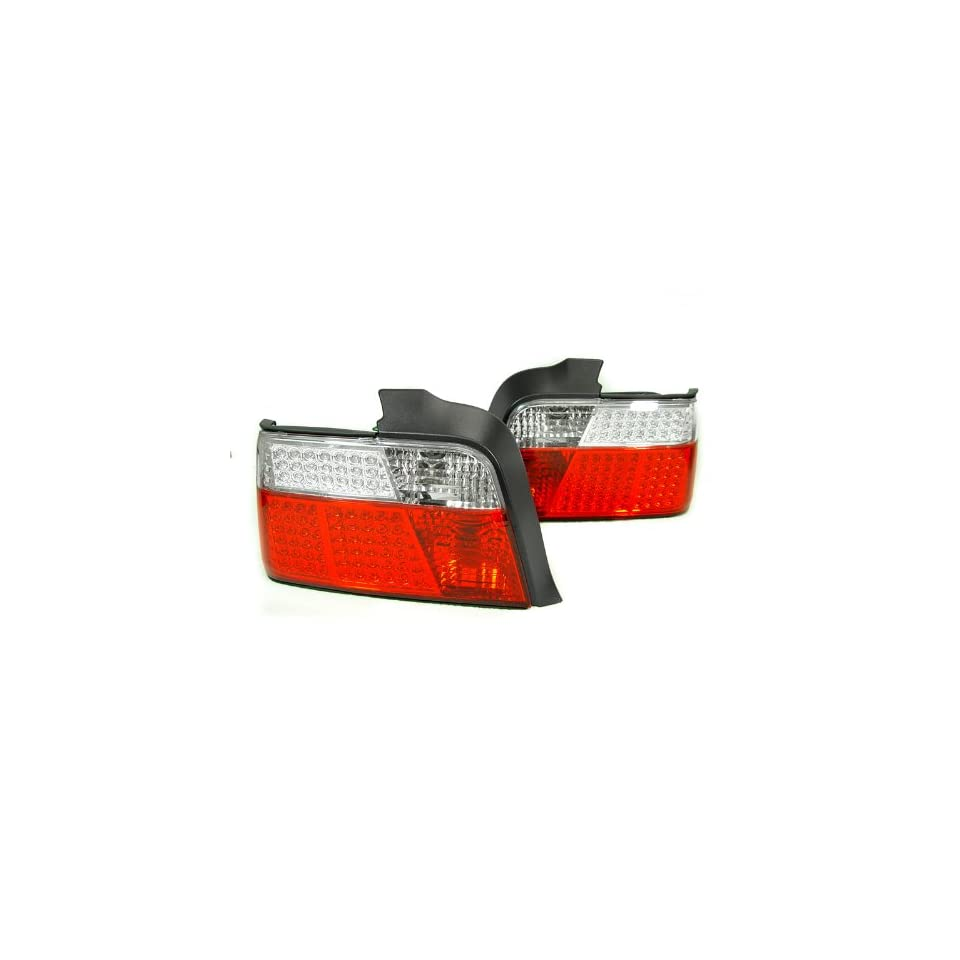 A Pair of Depo Red and Clear lense Full LED Tail Lights   BMW 3 Series E36 4DR 1992 1999