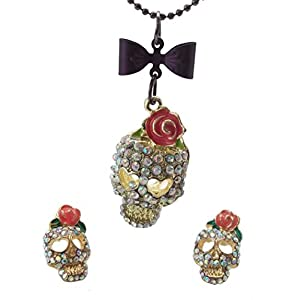 DaisyJewel Pink Rose Enamel Goldtone Crystal Skull Necklace and Matching Pave Stud Earrings