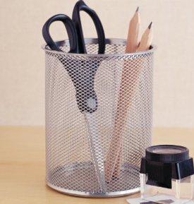 Mesh Pencil Cup - Silver