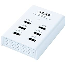 ORICO 72W 6 Port USB Charging Station for Smartphone, Tablet, Samsung, Android, e-Readers, iPad, iPod, Apple iPhone, Galaxy, HTC, Bluetooth Headphones and Speakers, Android, Kindle Fire and Paperwhite, Portable Power Banks And Much More - White (DUB-6P)