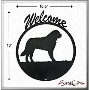 SAINT BERNARD Black Metal Welcome Sign