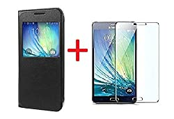 YuniKase(COMBO OFFER) for Samsung Galaxy J5 - 6 (New 2016 Edition) S view Leather Finish Flip Cover Case + Premium Tempered Glass Mobile Screen Protector - BLACK