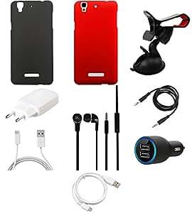 NIROSHA Cover Case Charger Headphone USB Cable Mobile Holder for YU Yureka - Combo