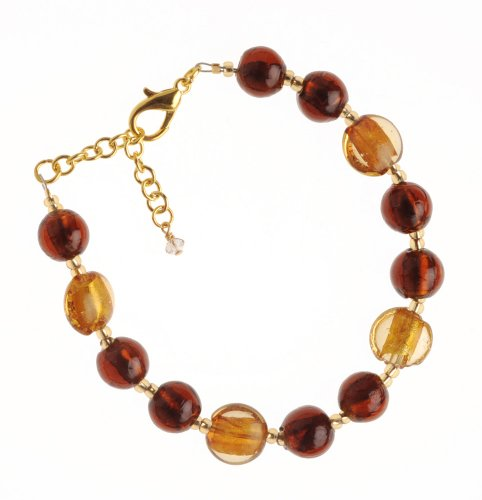 The Jewellery Factory Gold Plated Copper and Gold Murano Style Bead Bracelet of 24.0cm