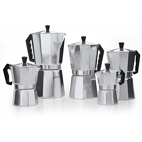 Classic 9-Cup Aluminum Stovetop Espresso Mocha Coffee Maker by Pride Of India