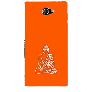 Skin4gadgets Lord Gautum Buddha-Line Sktech on English Pastel Color-Orange Phone Skin for XPERIA M2 (S50H)
